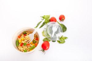 ПП складна вилка в крышке - лучший вариант для упаковки макарон, лапши, риса. Крышка с вилкой для упаковки еды навынос